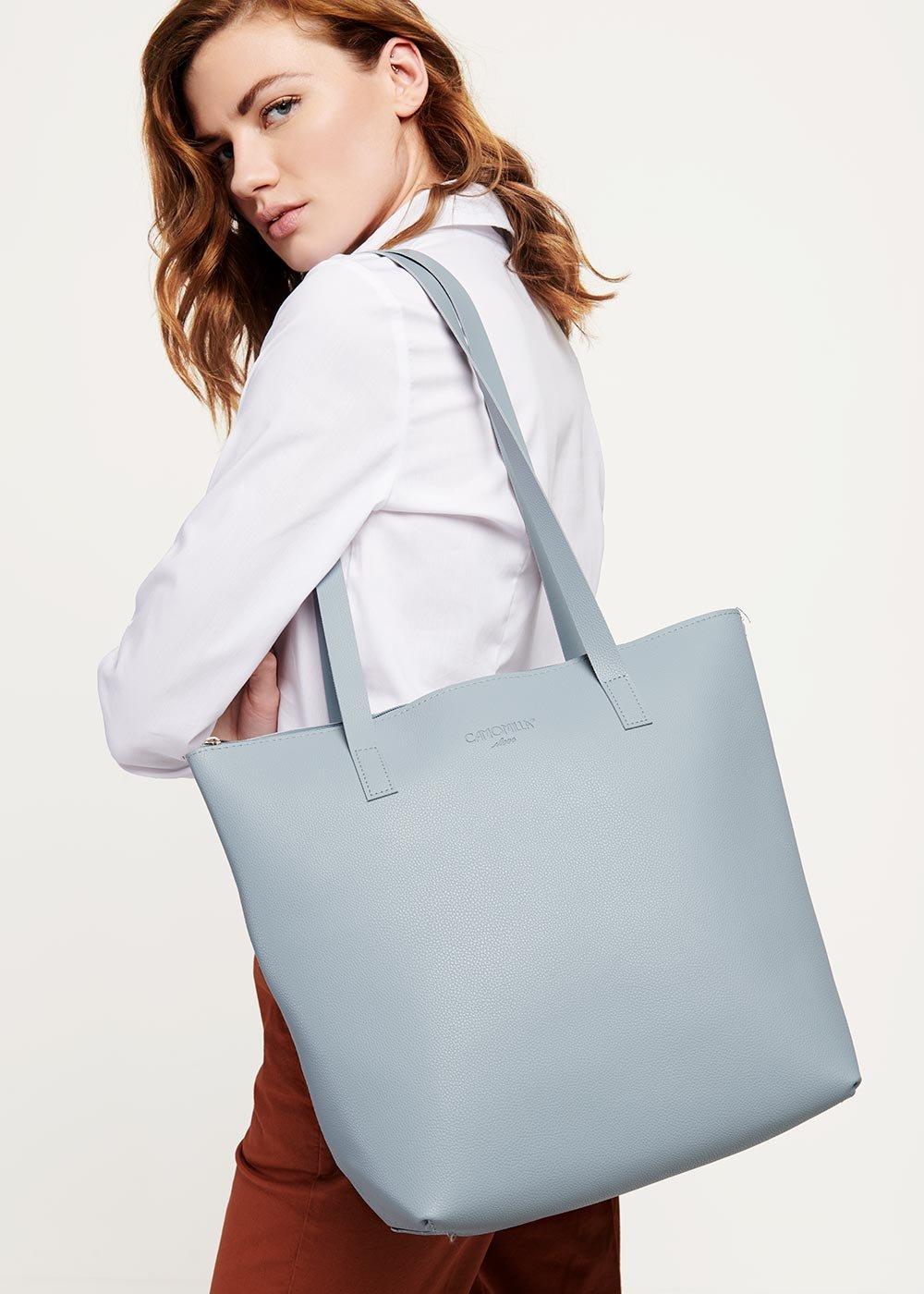 Shopping bag Bernadet in eco pelle - Fog - Donna