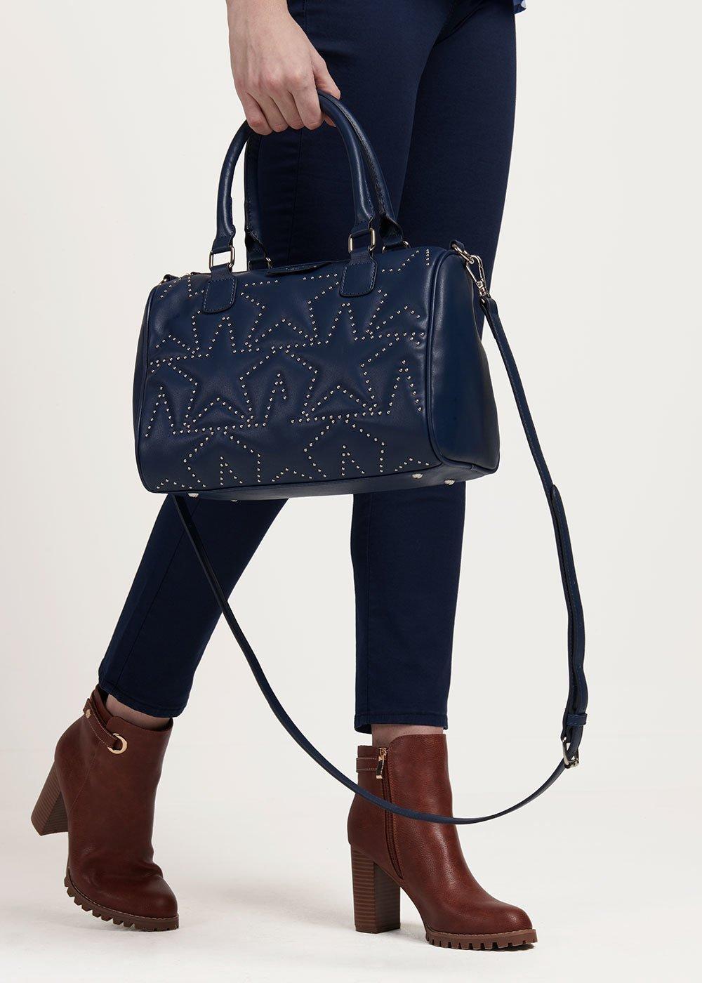 Brigitta bowler bag with micro-studs - Medium Blue - Woman