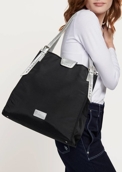 Shopping bag in nylon con manici a contrasto