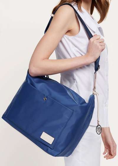 Shopping bag in nylon con doppia tasca