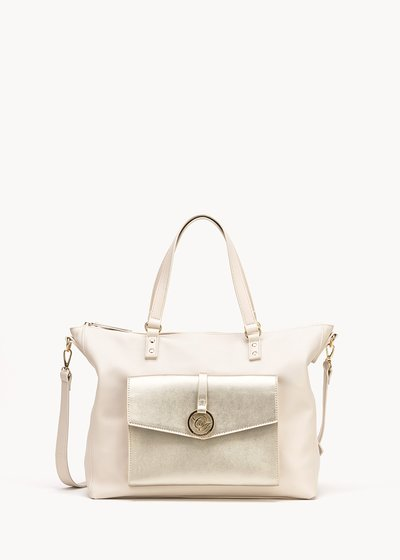 Shopping bag Bland white&gold