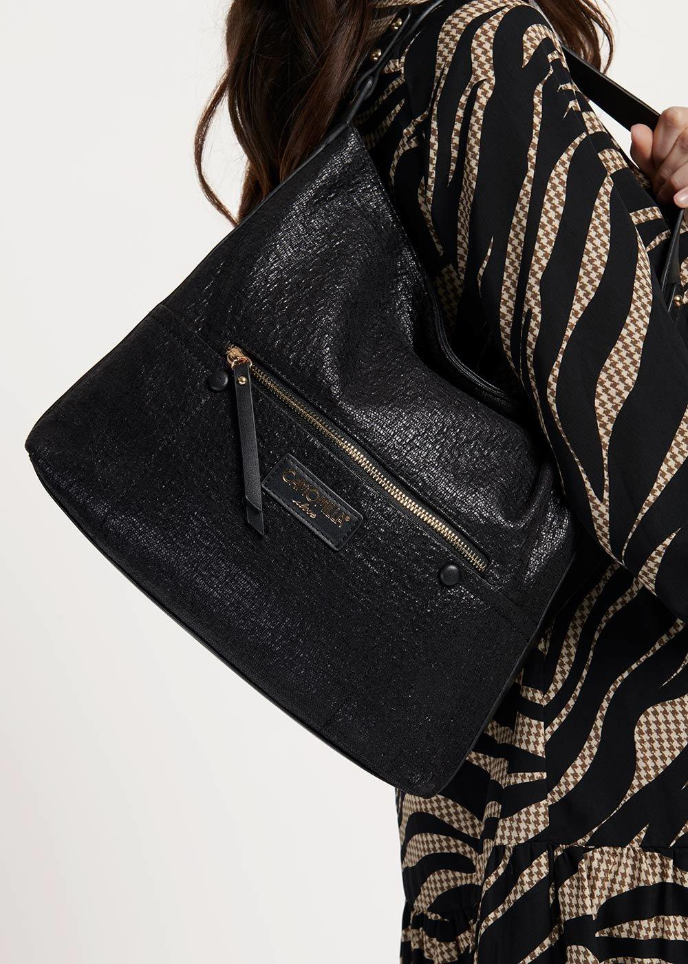 Buklas hobo bag in crinkled fabric - Black - Woman