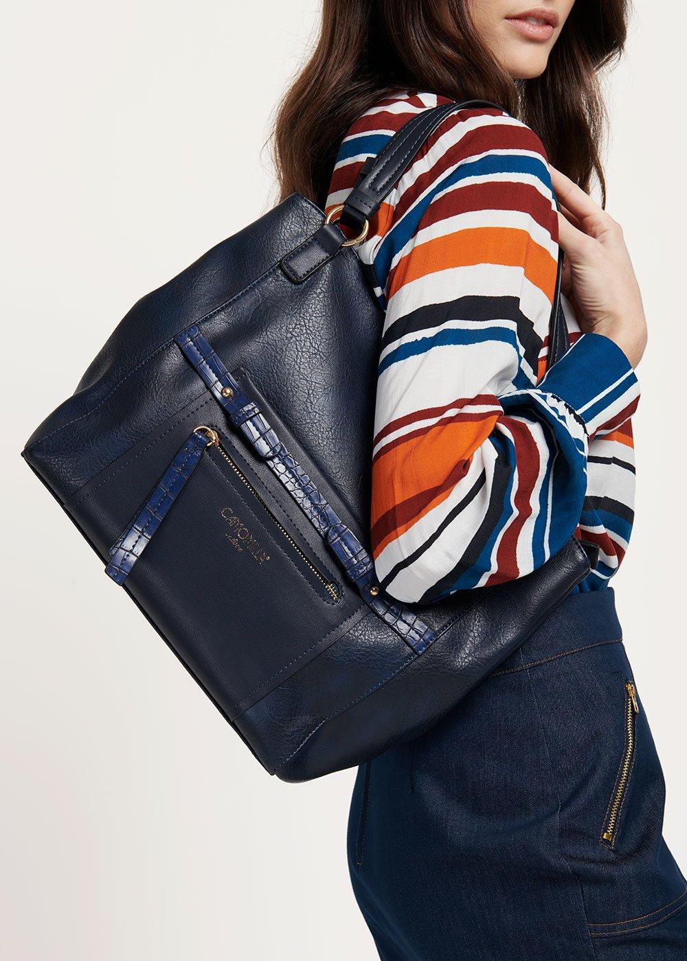 Began hobo bag with crocodile print details - Medium Blue - Woman