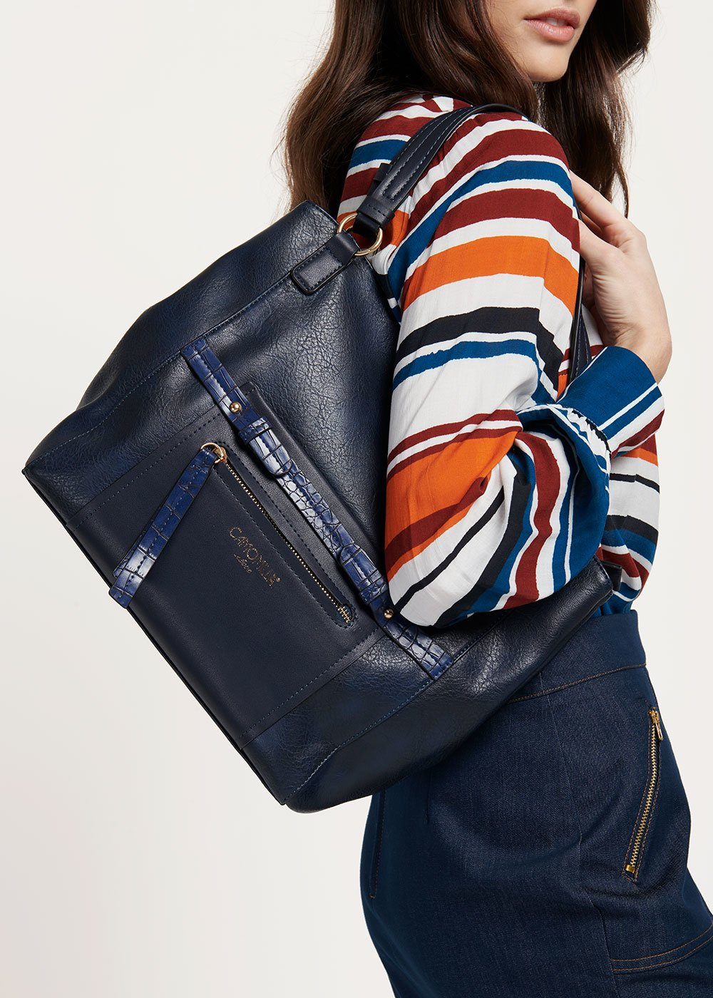 Hobo bag Began con dettagli in stampa cocco - Medium Blue - Donna