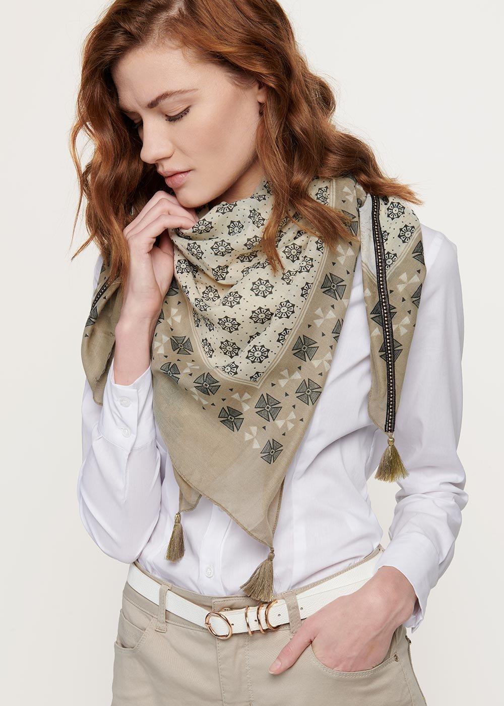 Samuel multi-print scarf - Cocco / Vaniglia Fantasia - Woman