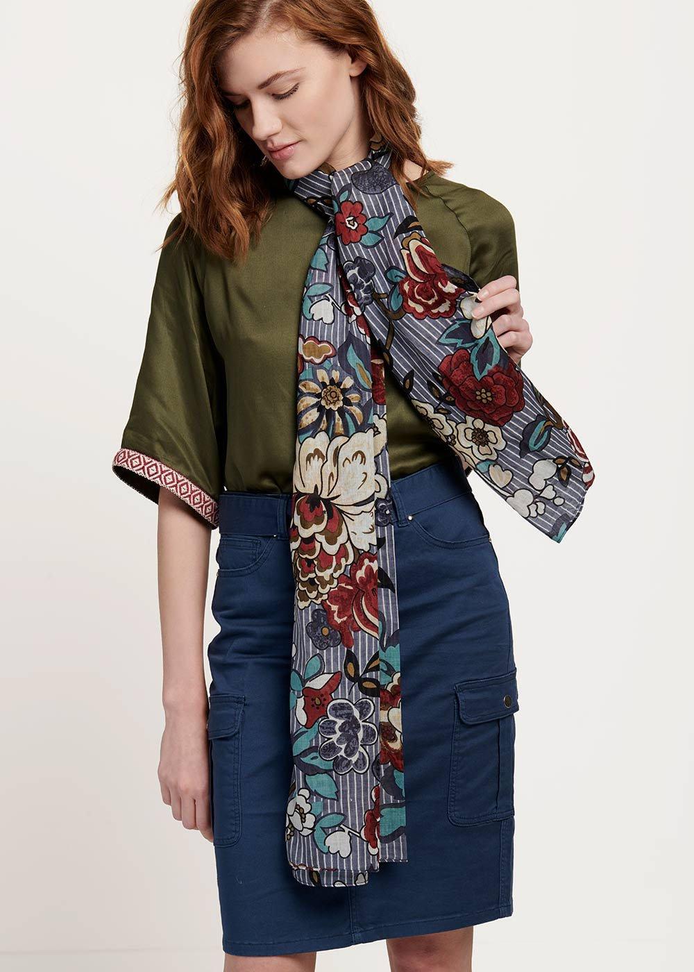 Samir scarf with spring print - Fog / Bordeaux Fantasia - Woman
