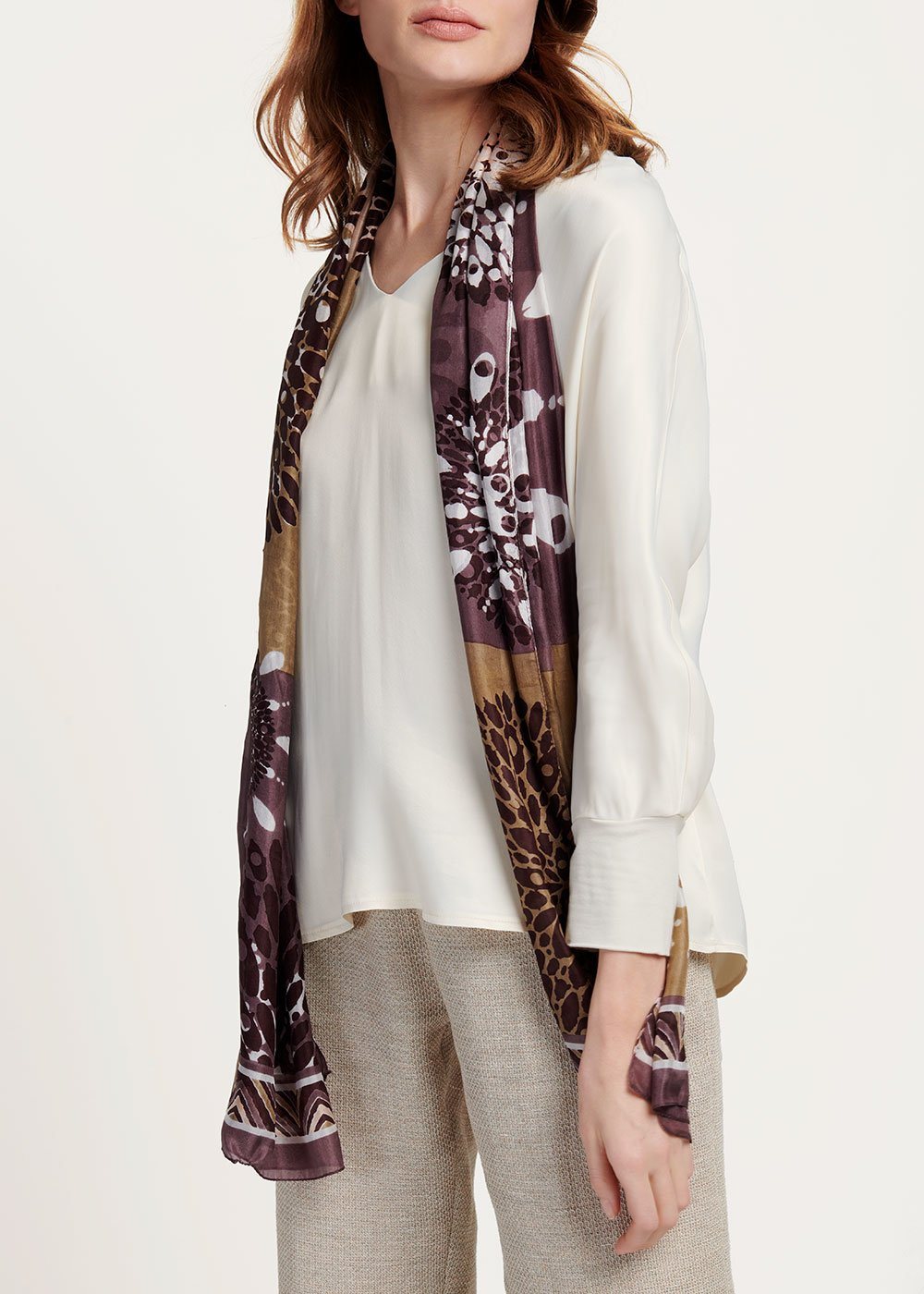 Sail scarf with flower print - Maracuja / Desert Fantasia	 - Woman