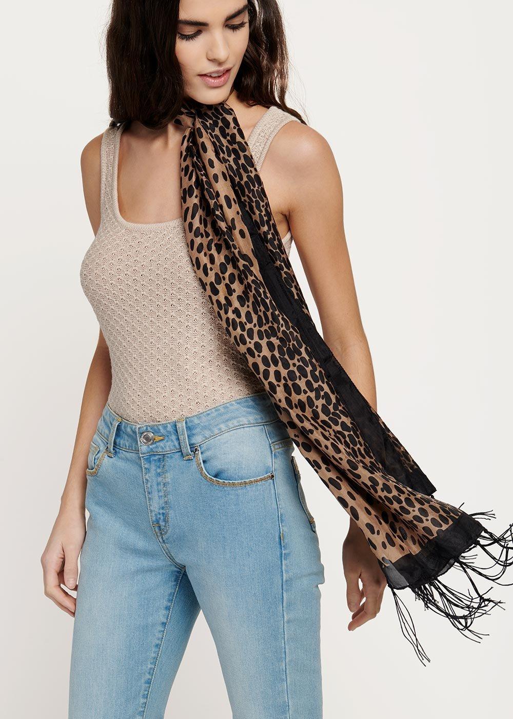 Seraphy animal print scarf with fringes - Doeskin / Black Animalier - Woman
