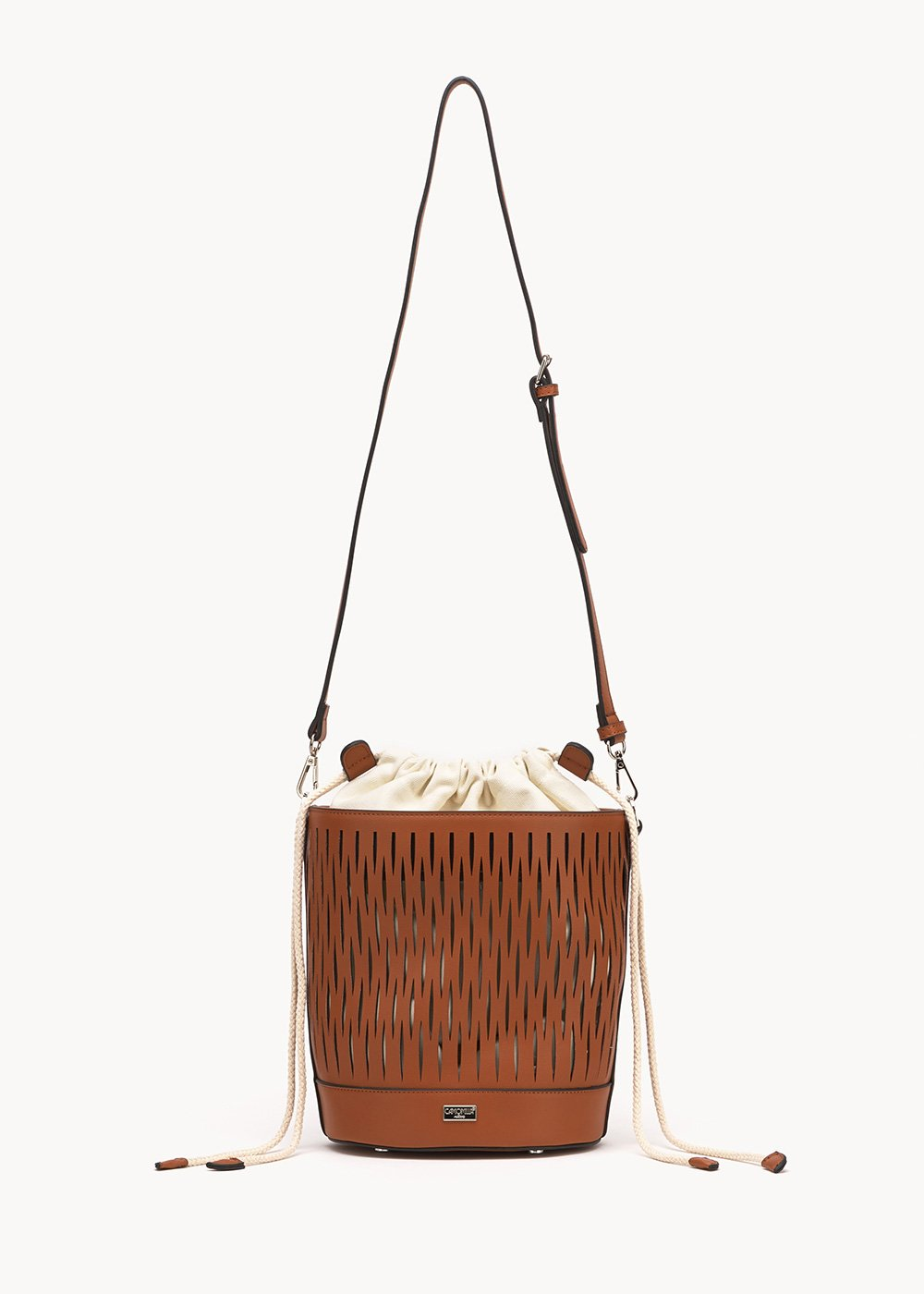 Beverly openwork bucket bag - Cocoa - Woman