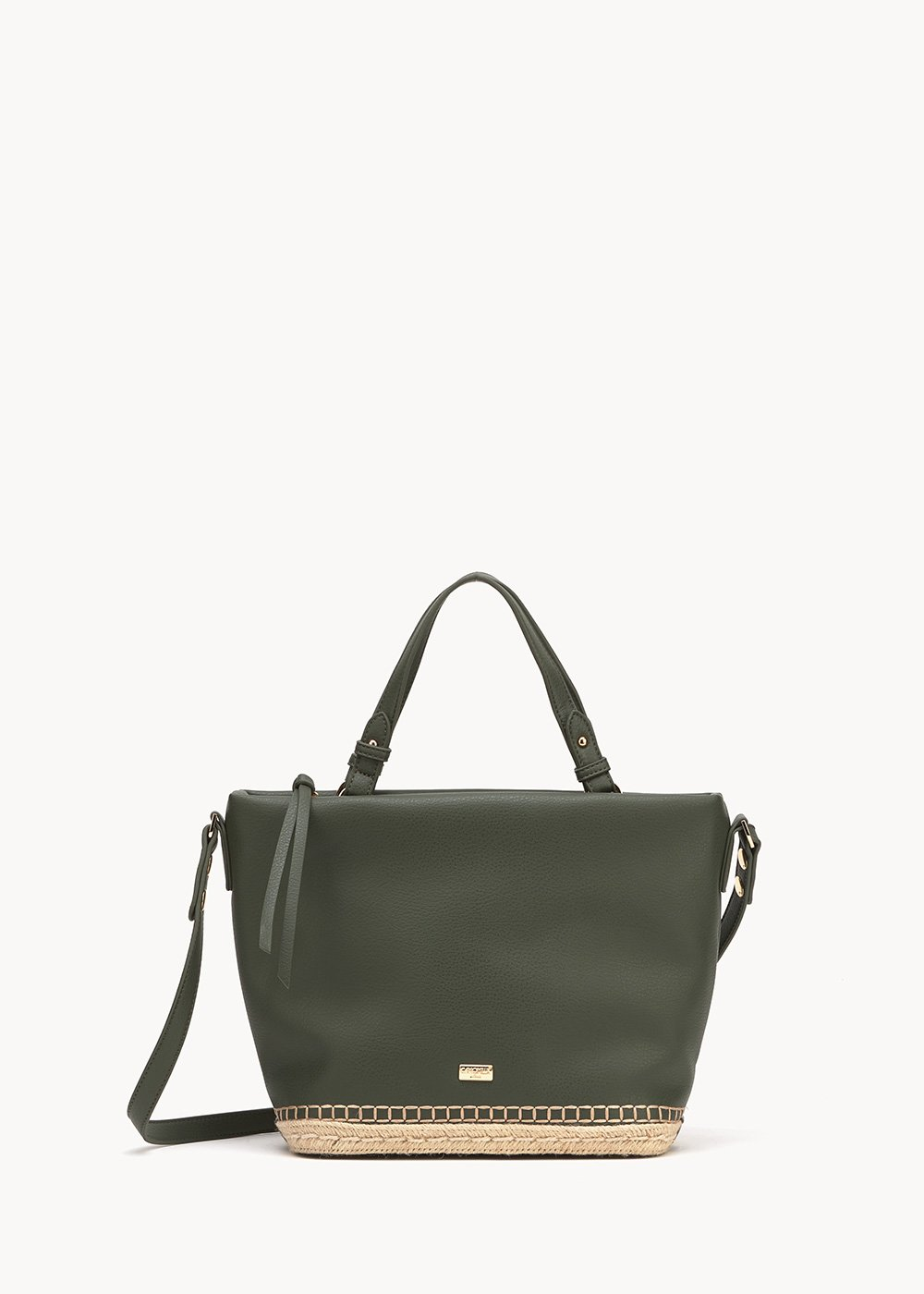 Beltran shopping bag with woven bottom - Green - Woman