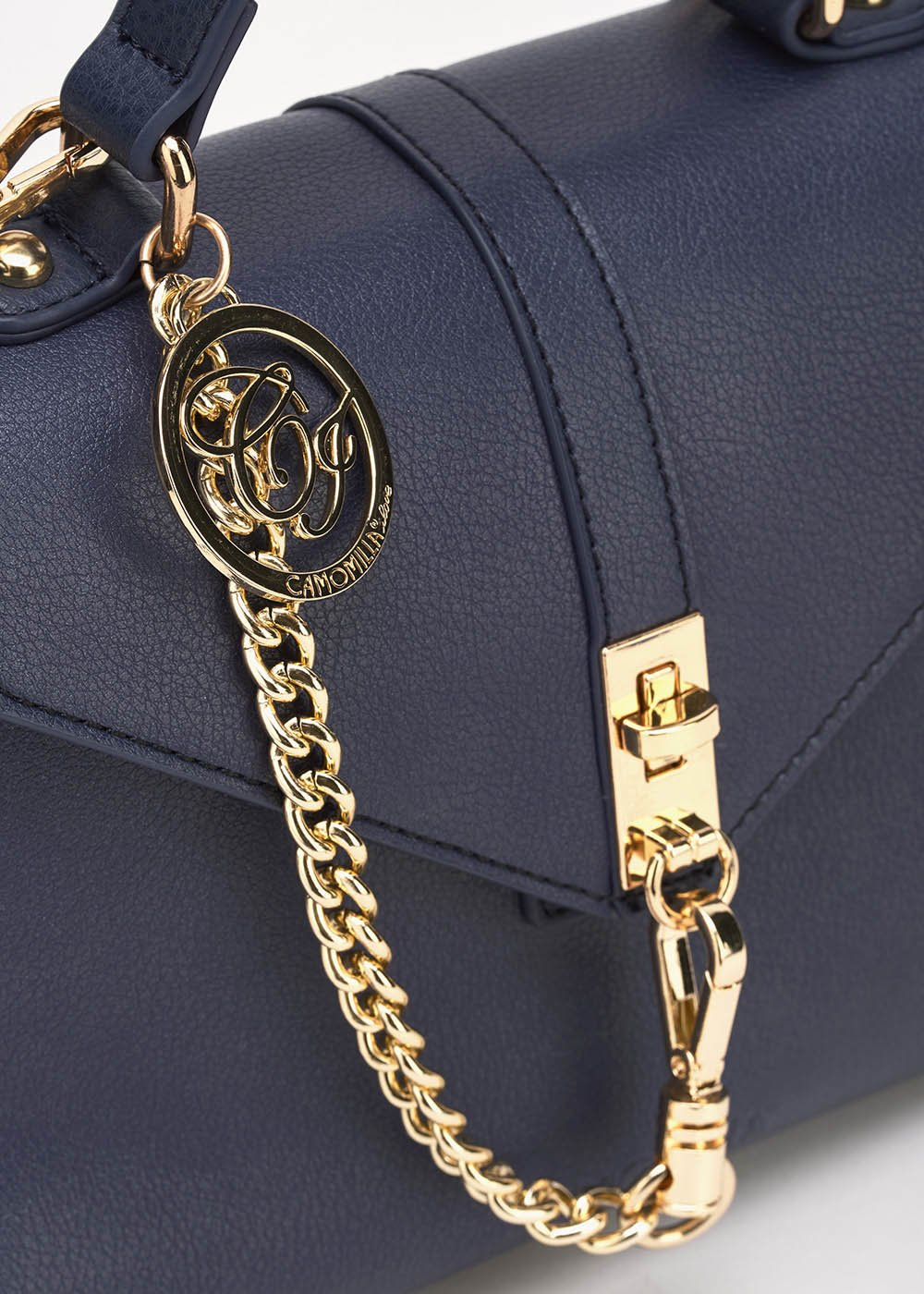 Borsa Becki con dettaglio catena gold - Medium Blue - Donna