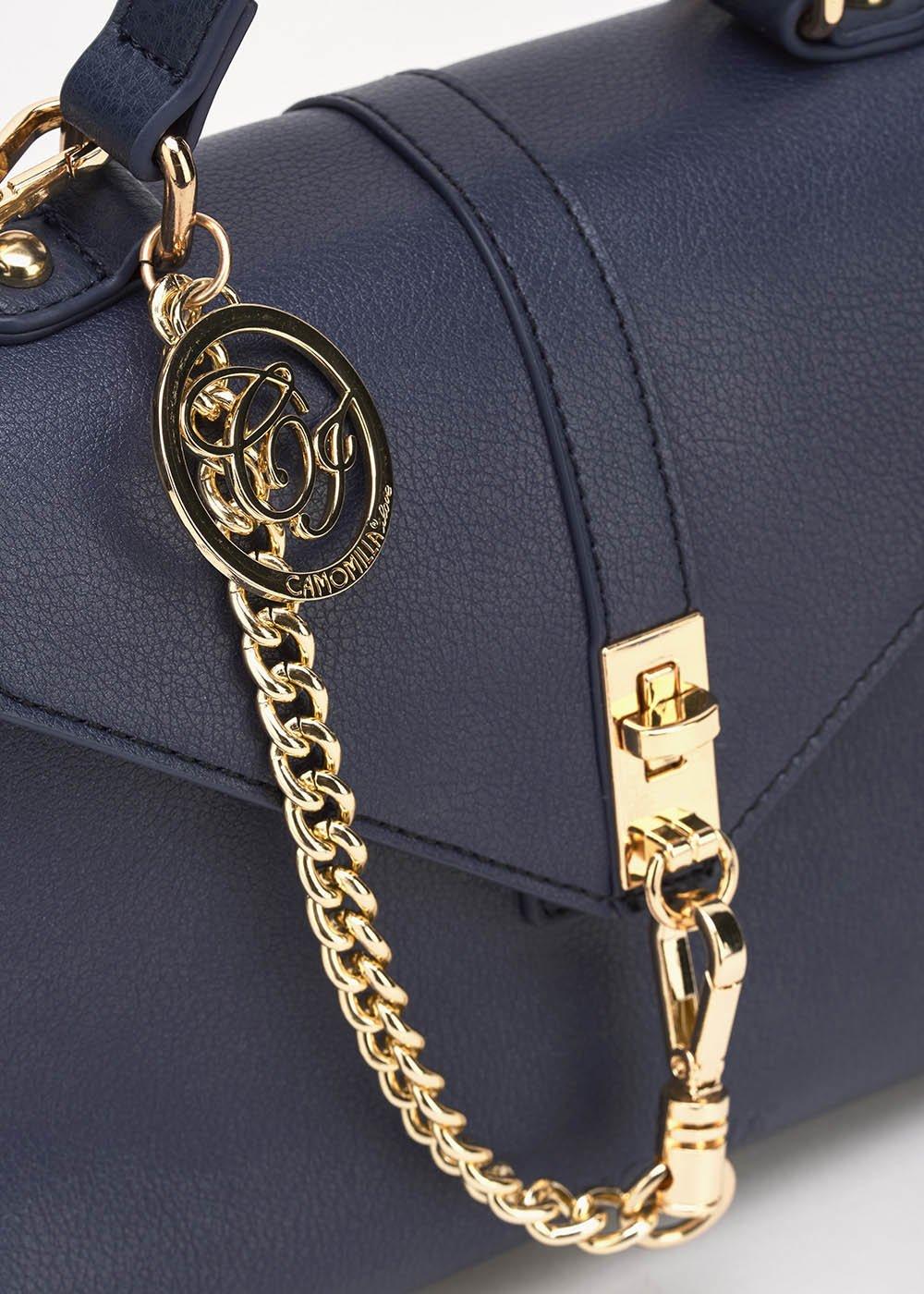 Becki bag with gold chain detail - Medium Blue - Woman