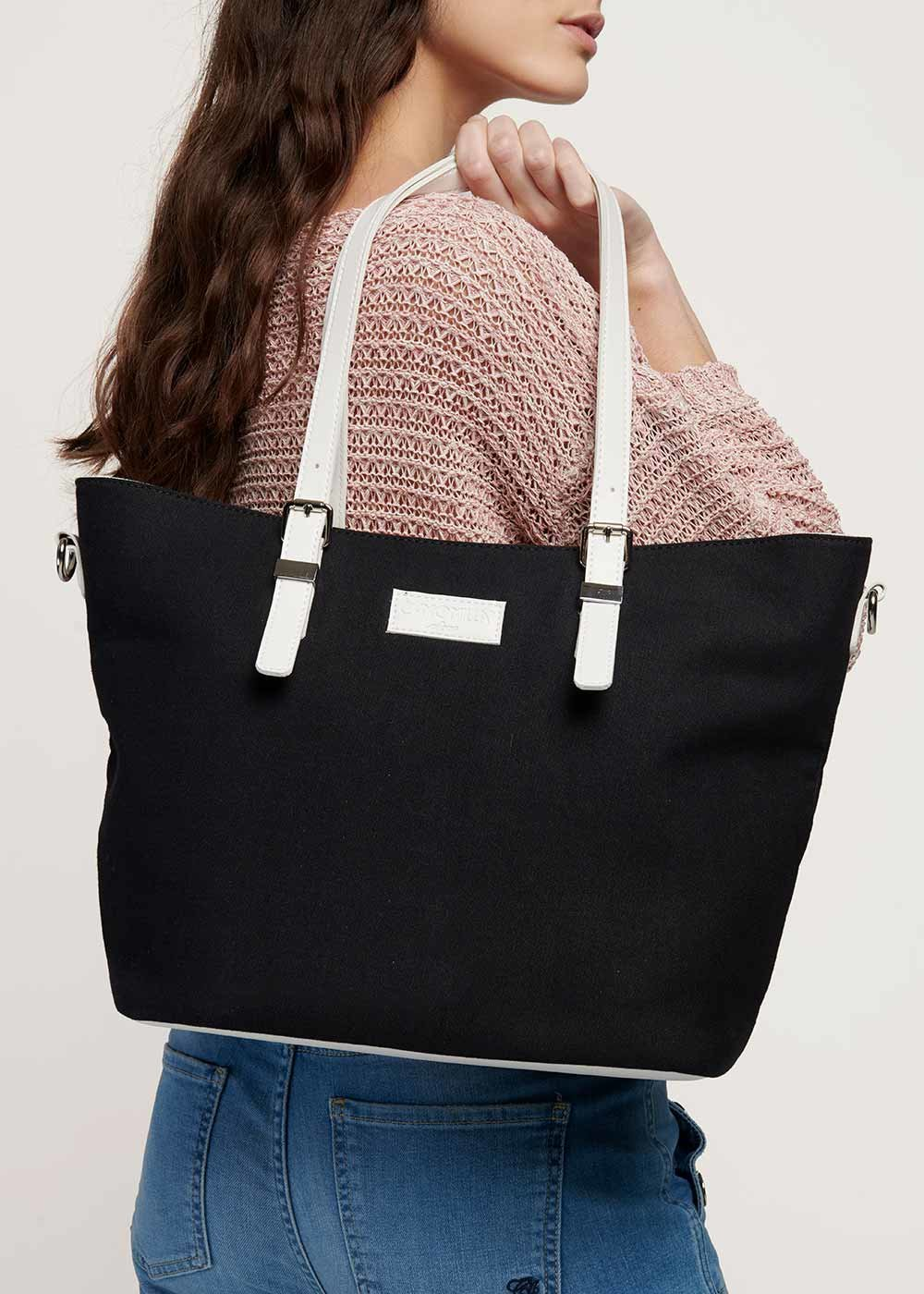 Beatris canvas bag - Black / White - Woman