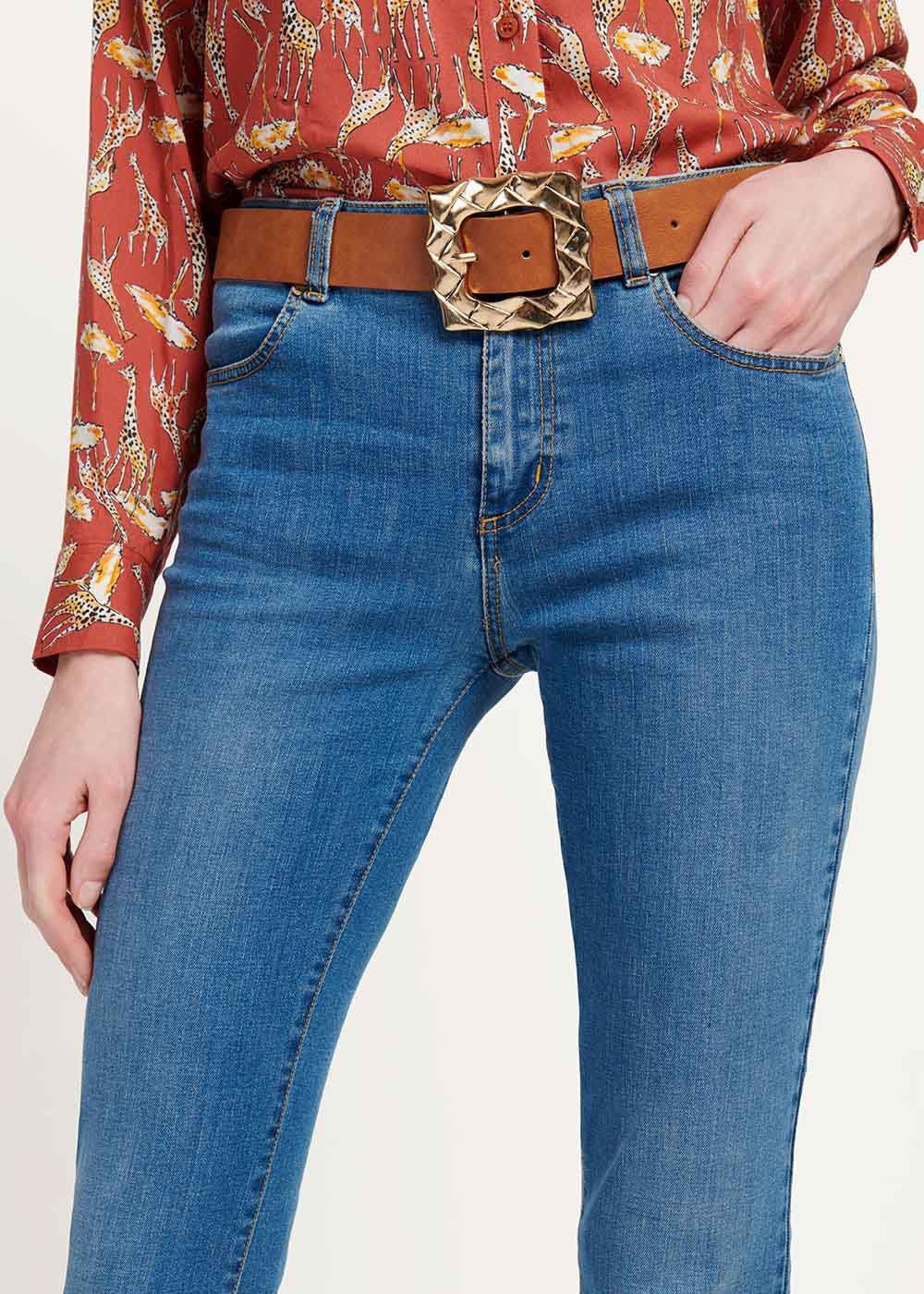 Cromby belt with square buckle - Tobacco - Woman