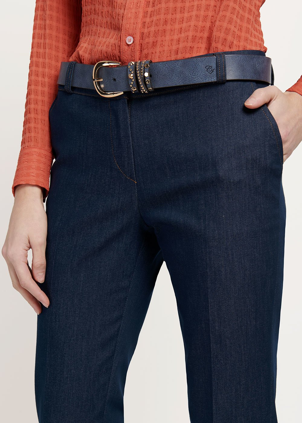 Chili belt with stud detail - Medium Blue - Woman