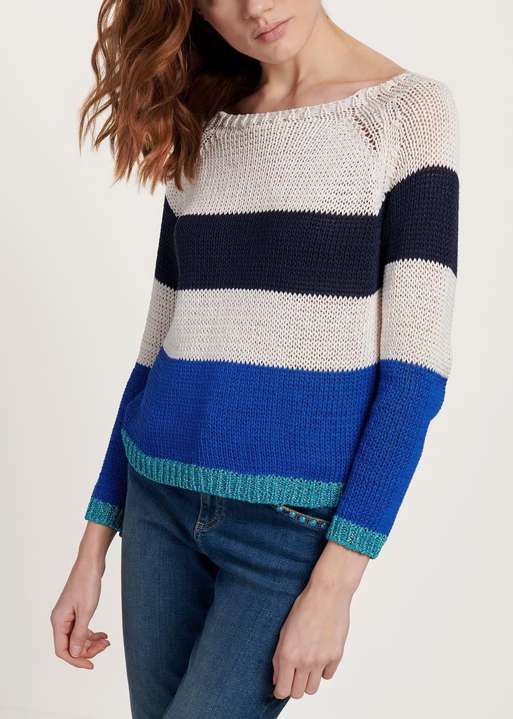 Maglia Margaret tricolor cotone e viscosa - White /  Marina  Stripes - Donna