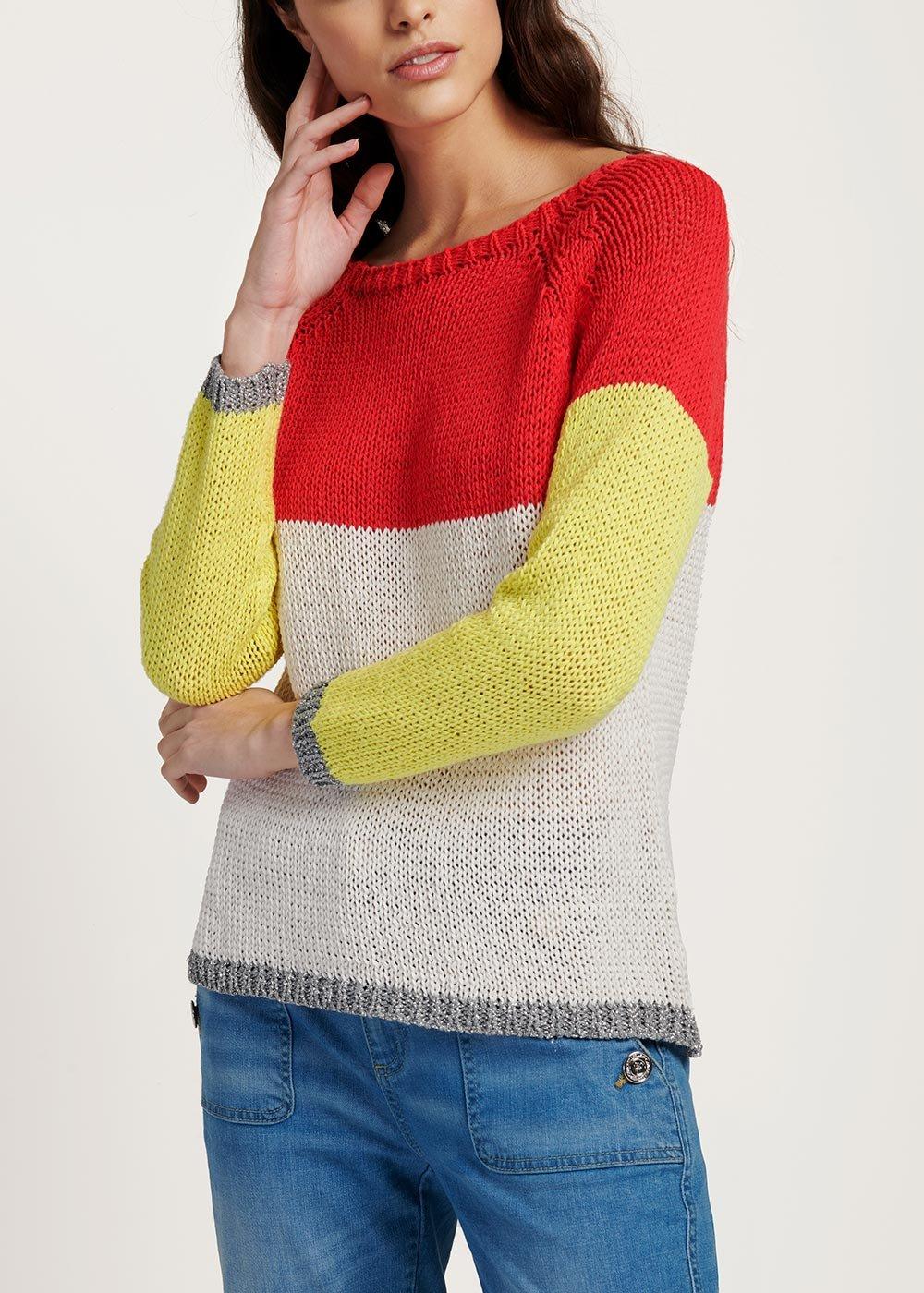 Two-tone cotton and viscose Madlen sweater - Aragosta / Light Beige/lurex - Woman