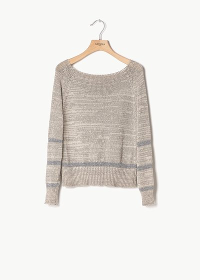 Miss cotton sweater with lurex hems at the bottom