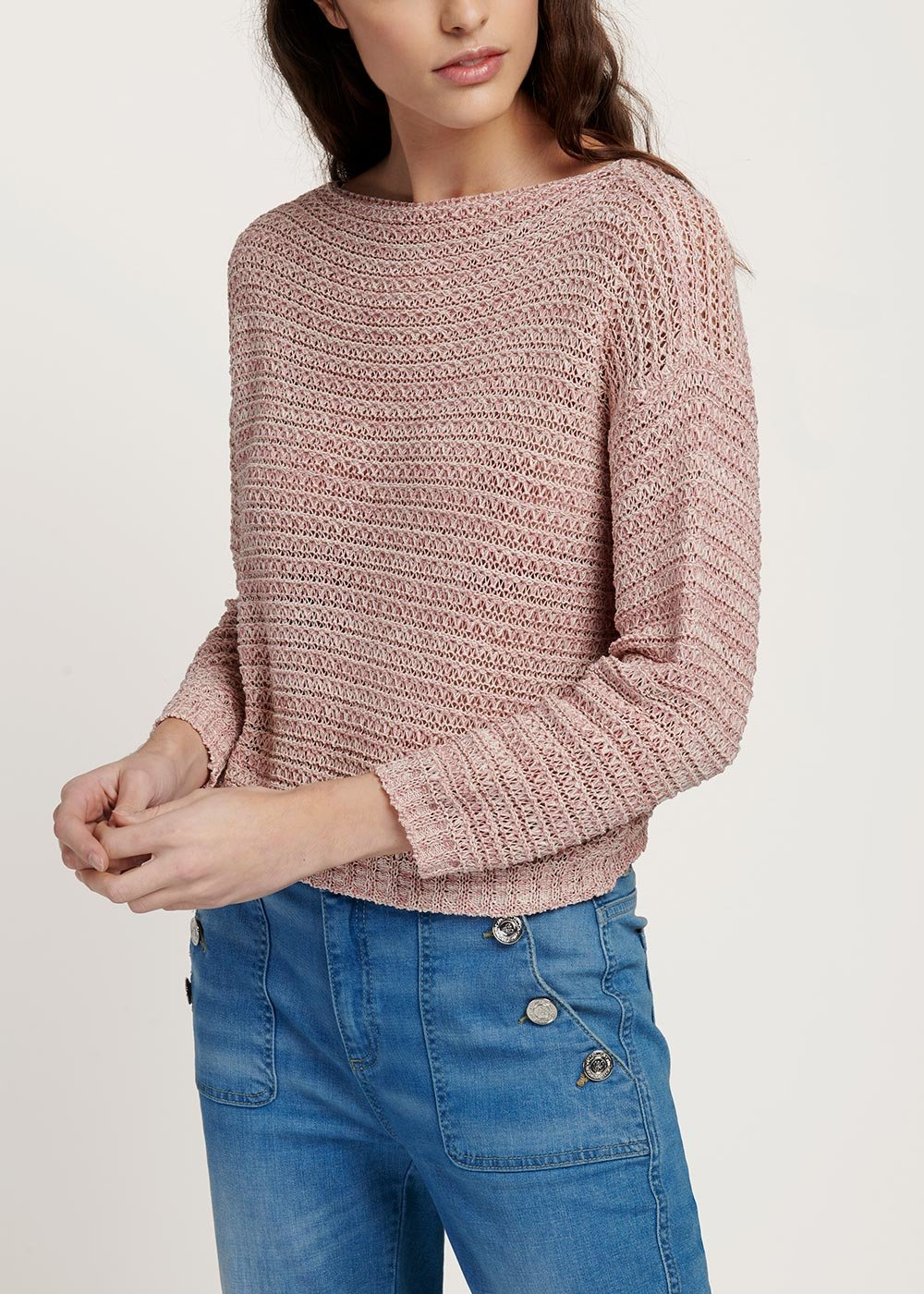 Morena cotton sweater with melange effect - Sepia / Light Beige	 - Woman