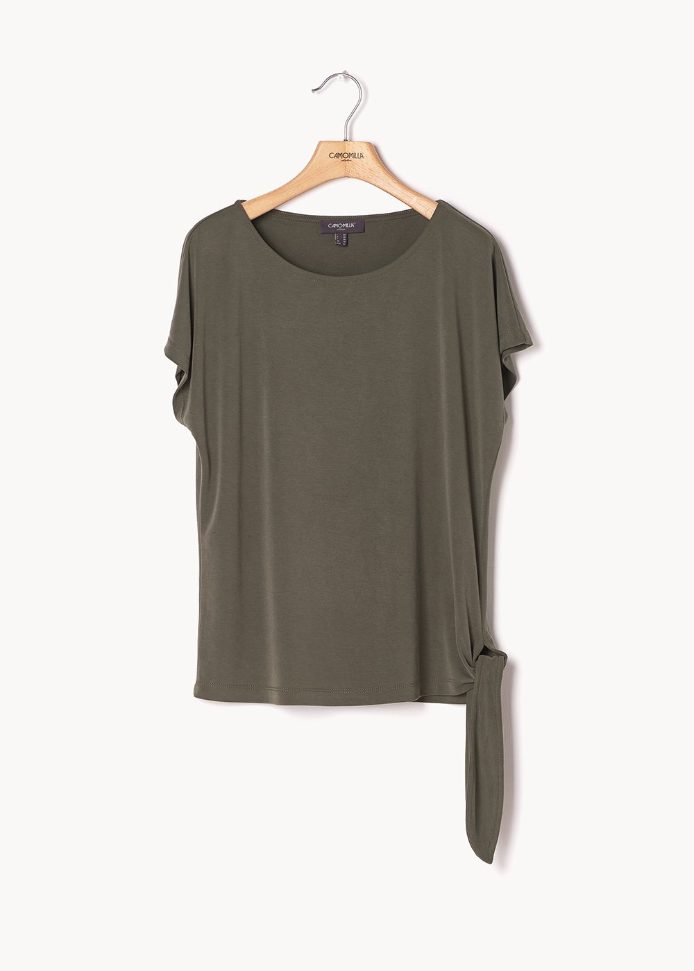 Sabry t-shirt with knot at the bottom - Green - Woman