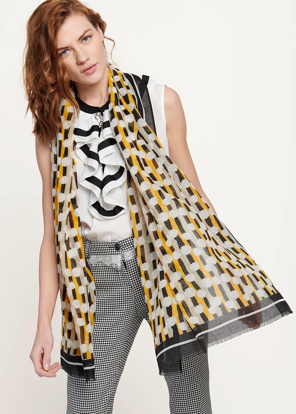 Sven scarf with geometric print - Black / White Fantasia - Woman