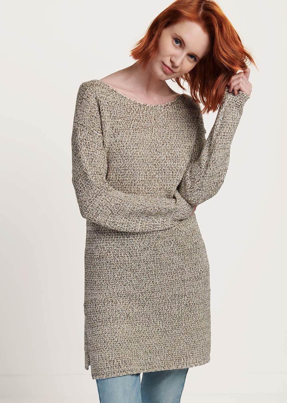 Mindy light beige cotton yarn sweater - Light Beige / Cannella Fantasia - Woman