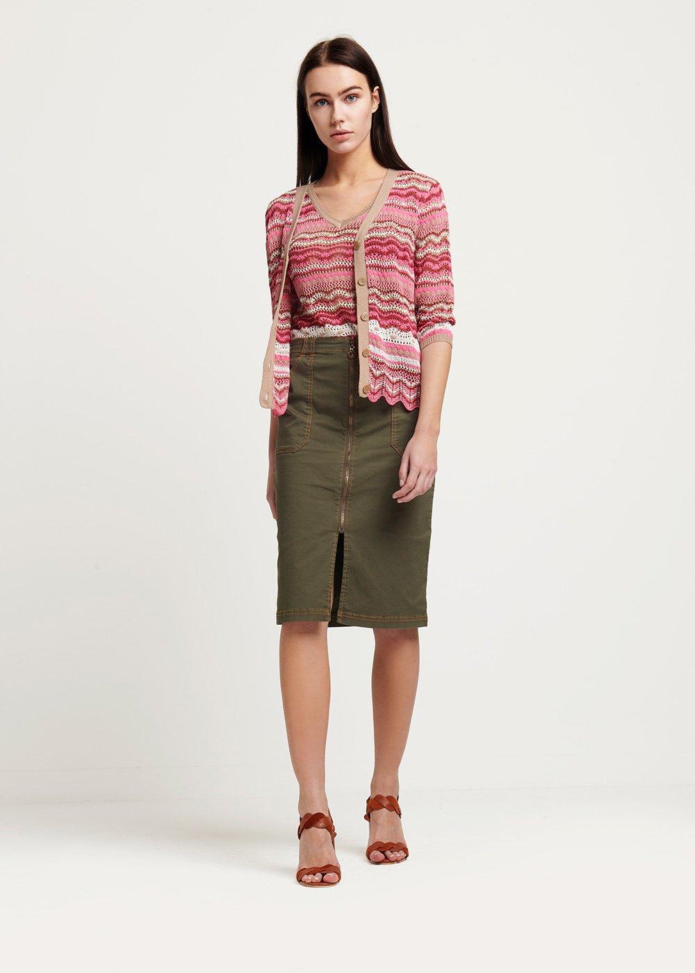 Trey cotton yarn twin set with striped pattern - Gloss \ Cacao \ Fantasia - Woman