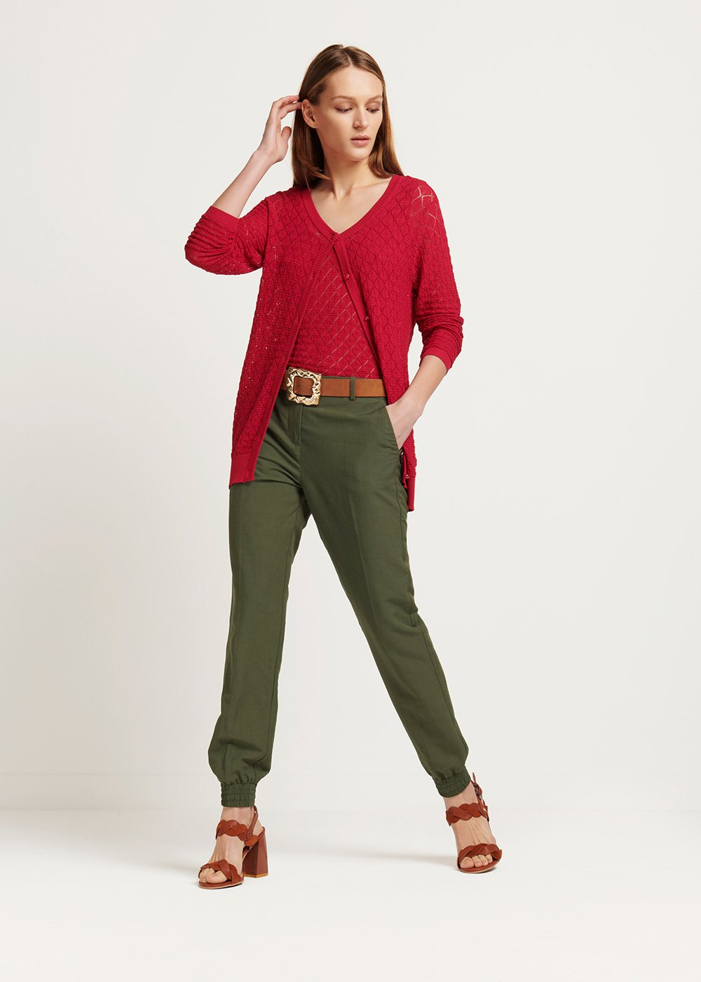 Tracey cotton yarn twin set with round neck - Cherry - Woman