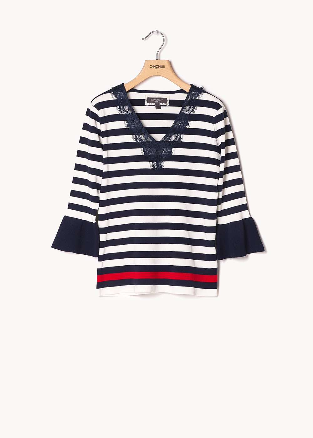 Myril sweater with ruffles and lace - M.blue / White / Stripes - Woman