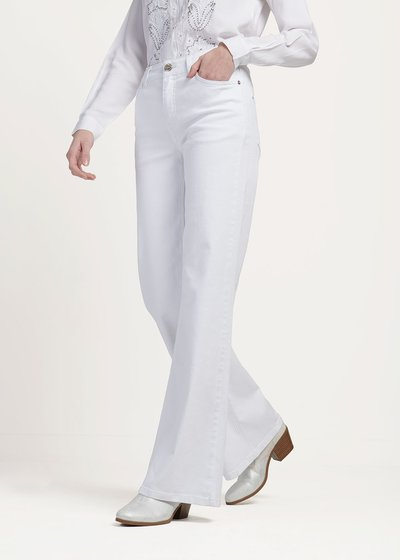 Preston white denim with wide leg