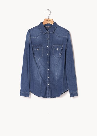 Caty denim shirt with jewel buttons