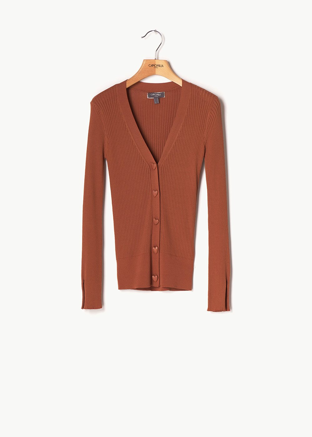 Cleo narrow-ribbed cardigan with button detail - Cocoa - Woman