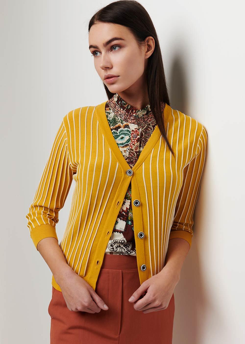 Clio striped cardigan - Sole \ White Stripes - Woman