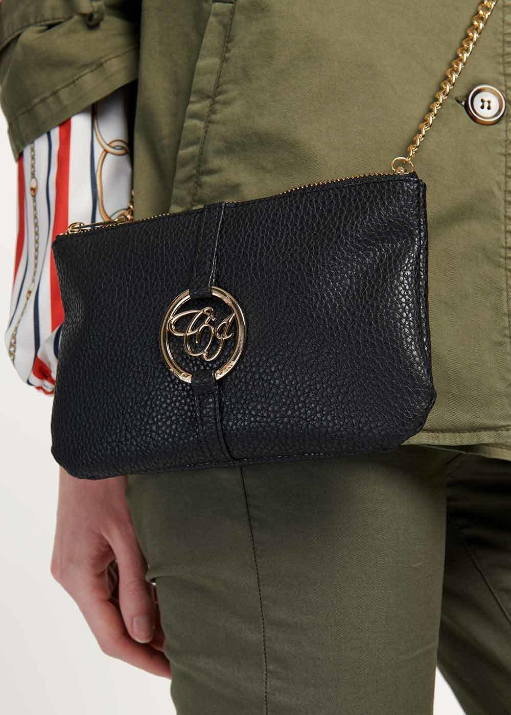 Tonga two-tone clutch bag - Black - Woman