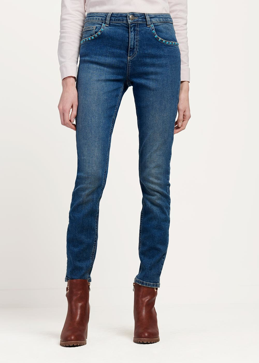 Doris denim with turquoise stones detail - Denim - Woman
