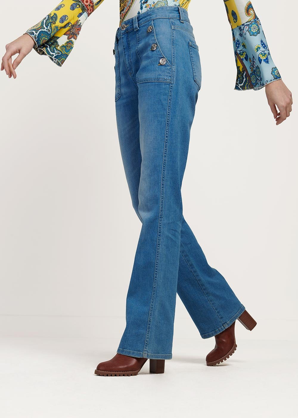 Dotty denim with front pockets detail - Denim - Woman