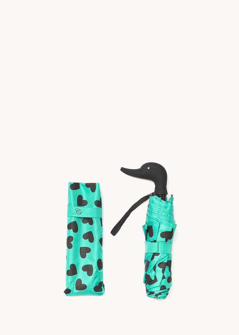 Heart-patterned umbrella - Smeraldo / Black Fantasia - Woman