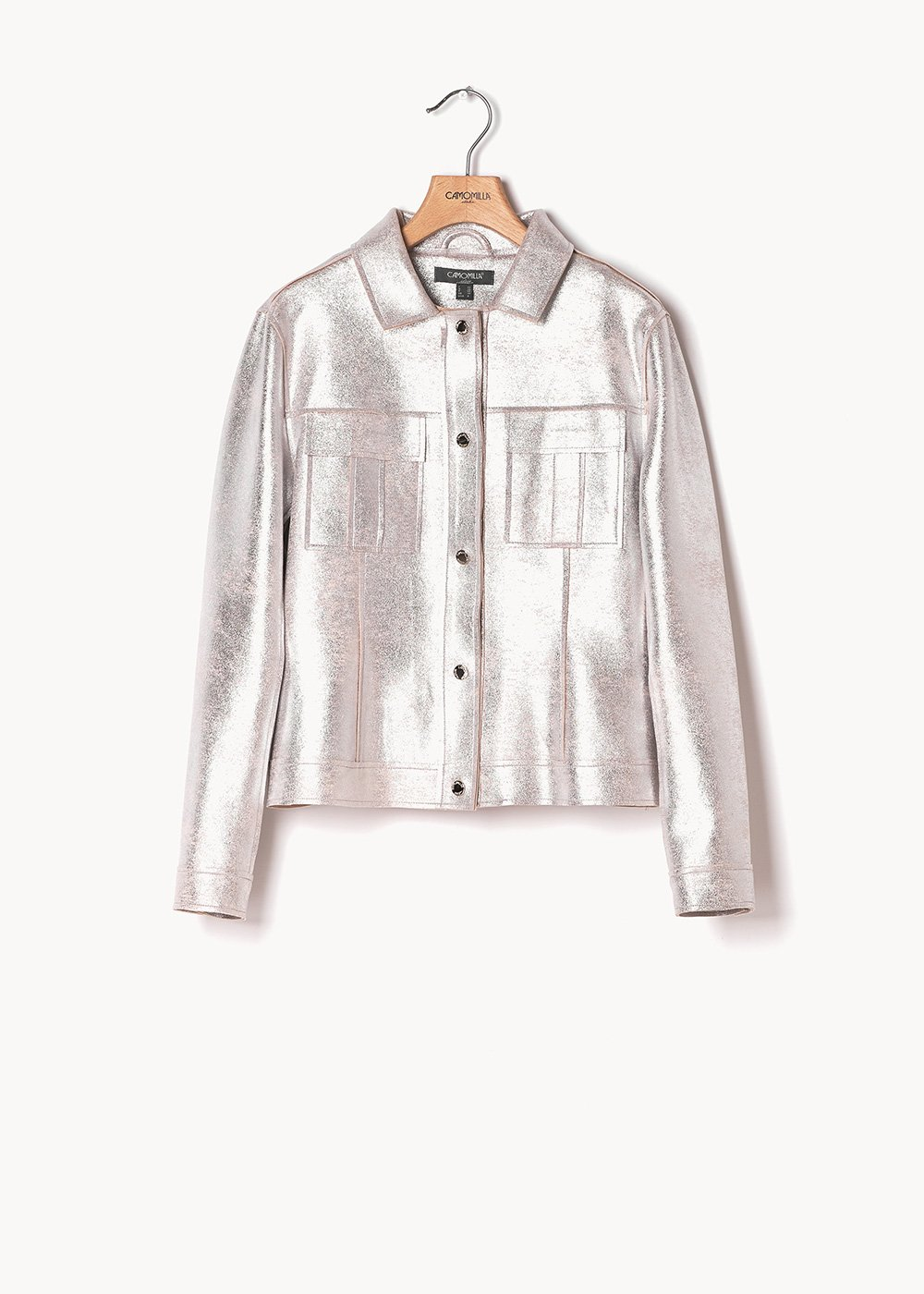 Guys metal faux-leather jacket - Silver - Woman