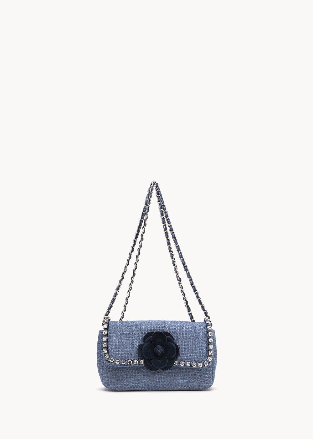 Bally clutch bag with rhinestones and shoulder strap - Fog / Dark Blue - Woman