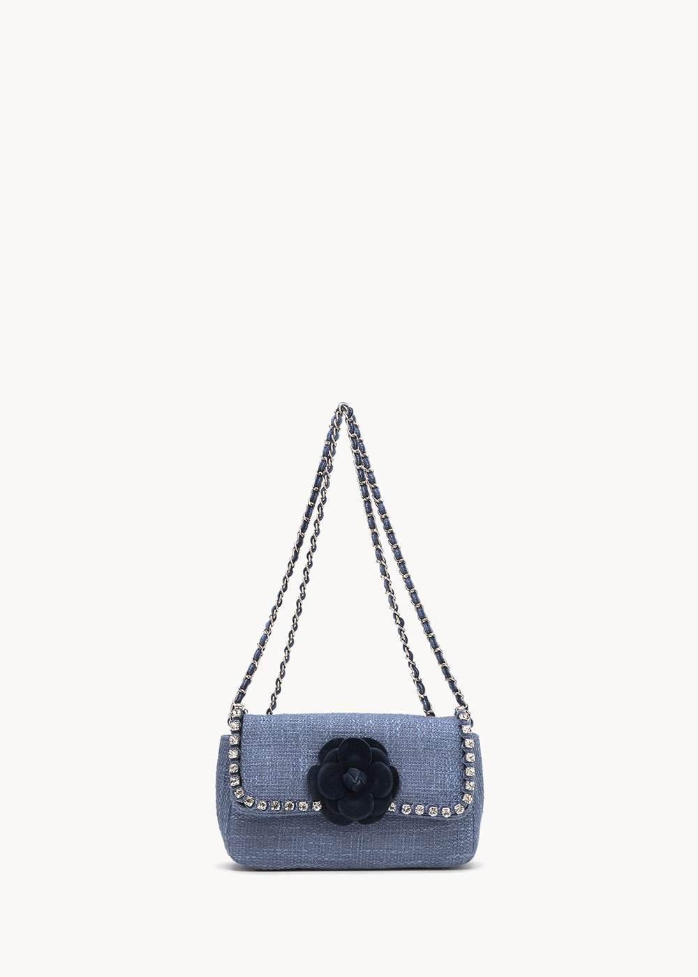 Bally clutch bag with rhinestones and shoulder strap - Fog / Dark Blue	 - Woman