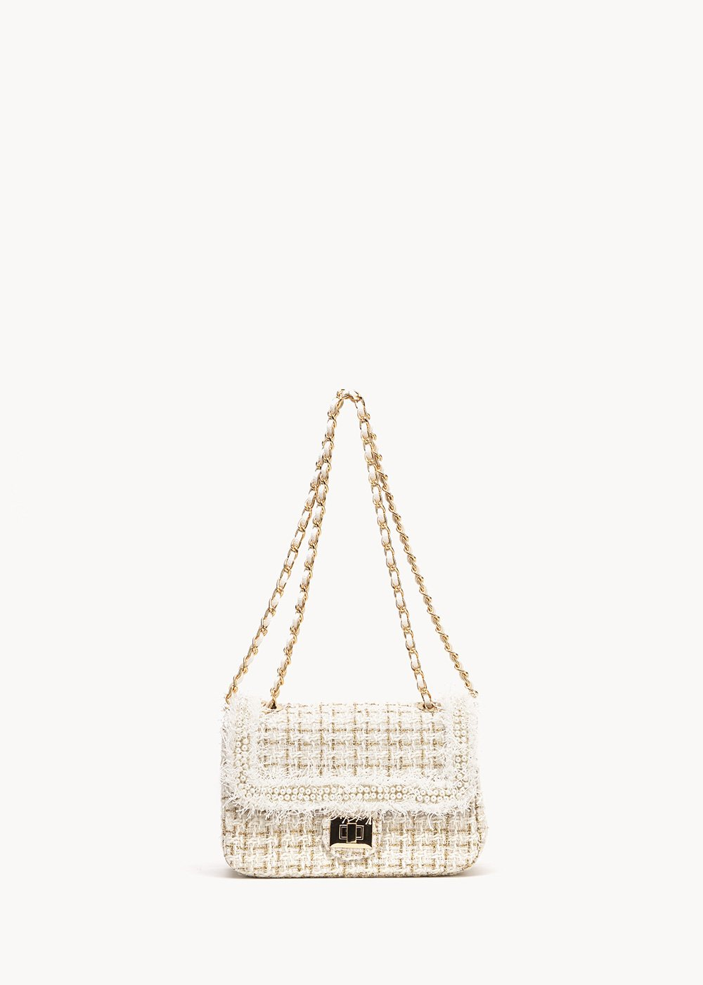 Briga clutch bag with pearls and bouclè fabric - Light Beige / White - Woman