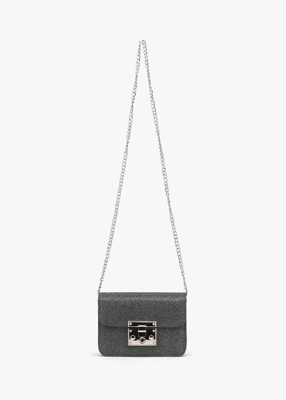 Clutch bag Bouquet in lurex - Gun Metal - Donna