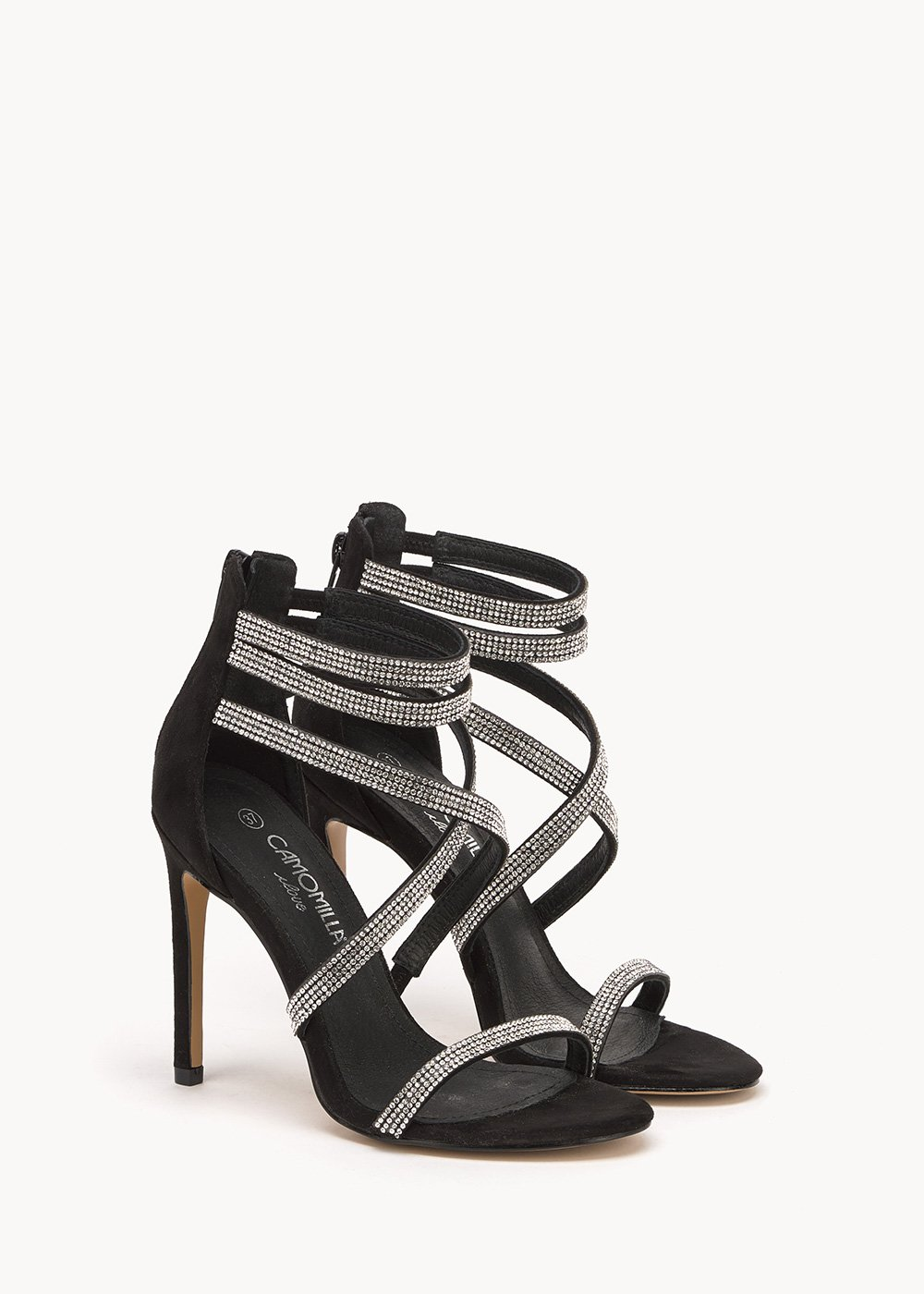 Shyla sandals with rhinestone details - Black - Woman