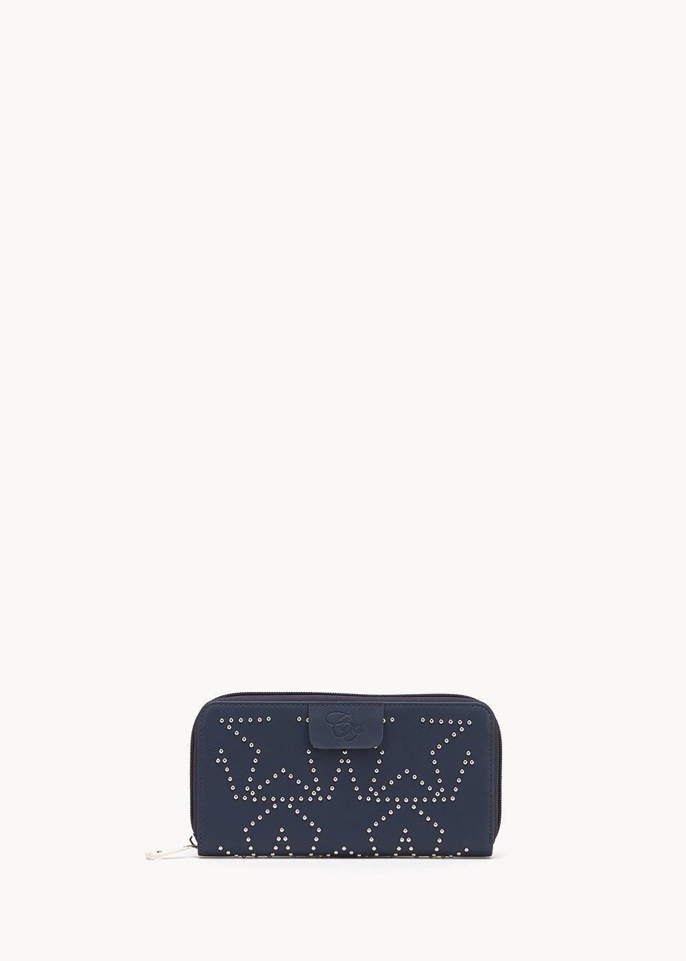 Peers wallet with micro-studs - Medium Blue - Woman