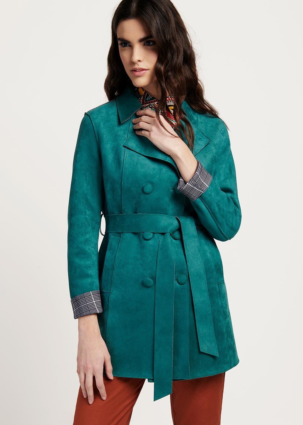 Twil double-breasted mint green trench coat - Menta - Woman