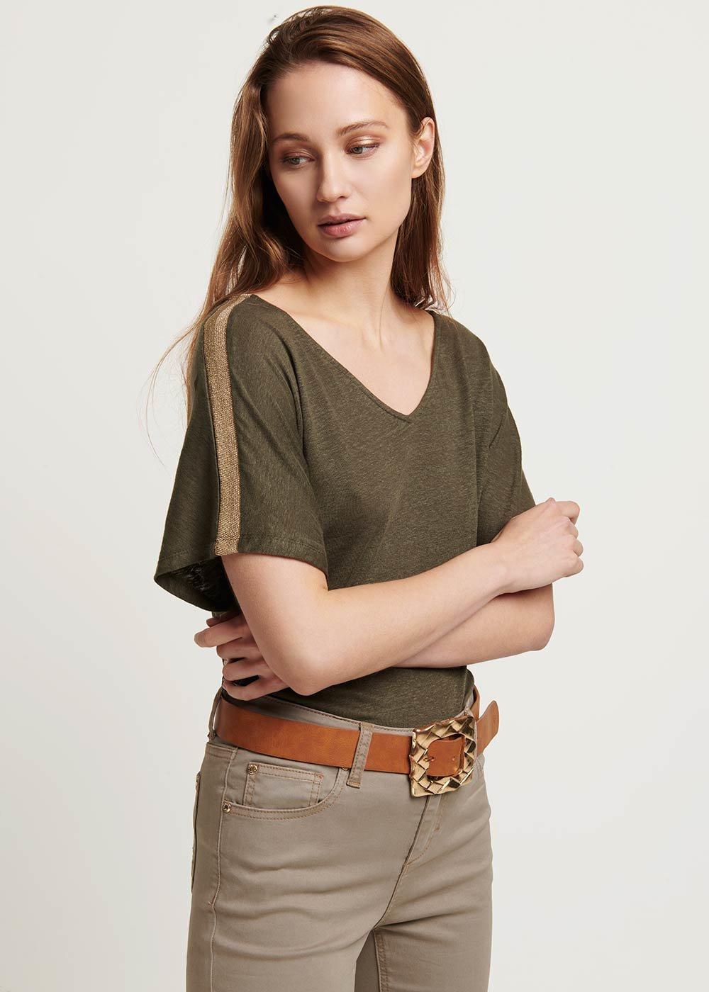 Sandra V-neck t-shirt - Green - Woman