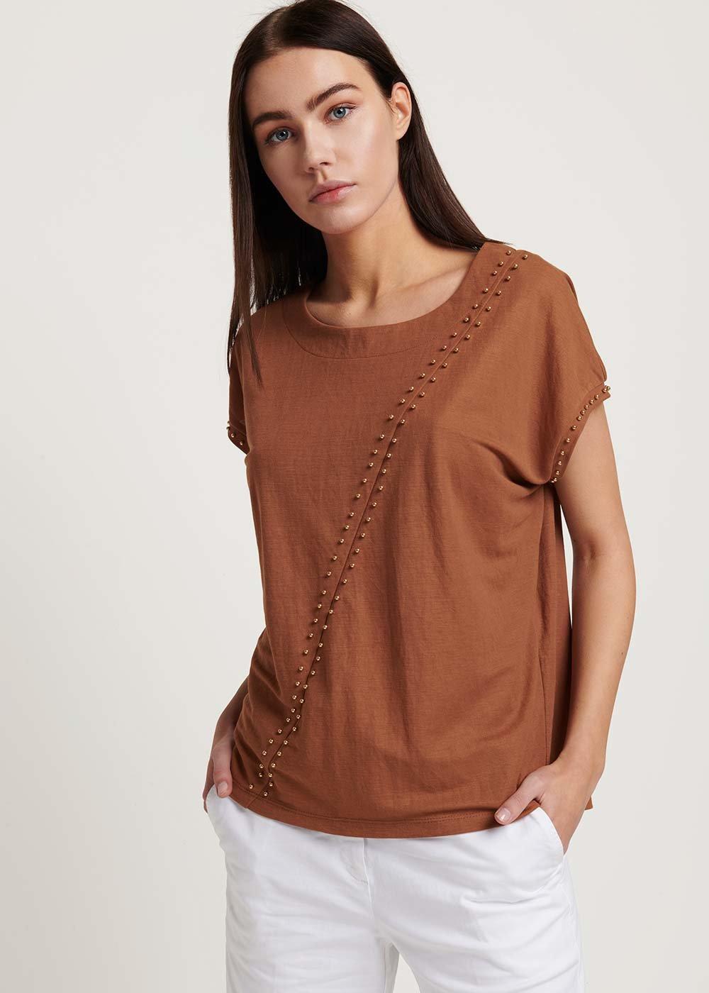 T-shirt Sabina con micro borchiette - Cacao - Donna