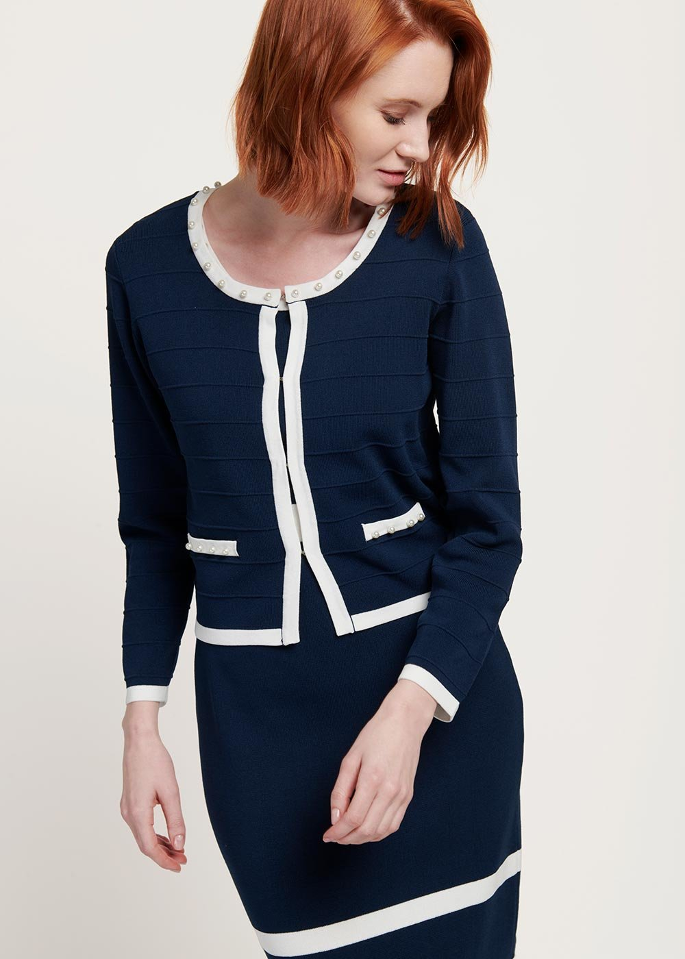 Calvin two-tone shrug - Medium Blue / White - Woman