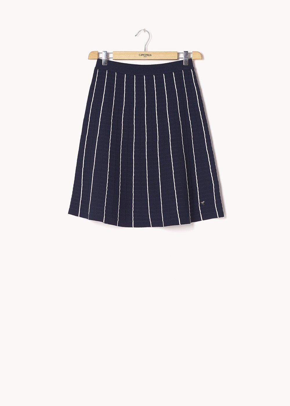 Gaylin knit skirt - Medium Blue / White - Woman