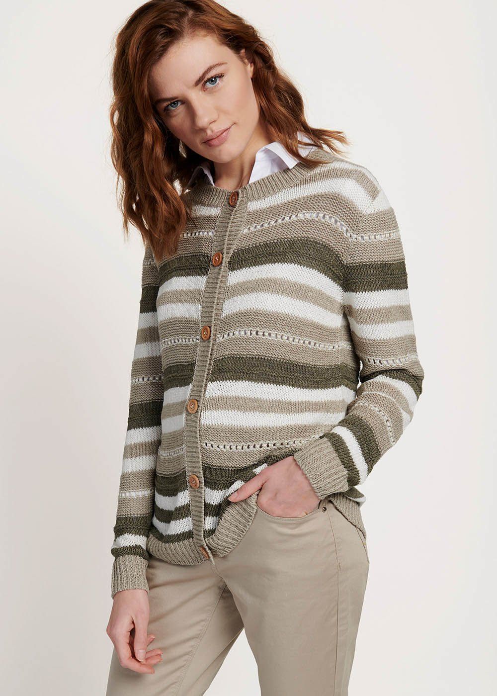 Clair cardigan with multicolour stripes - Timo / Tofu / Stripes	 - Woman